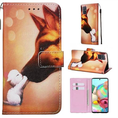 Hound Kiss Matte Leather Wallet Phone Case for Samsung Galaxy A71 4G