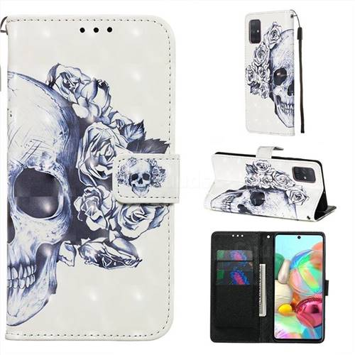 Skull Flower 3D Painted Leather Wallet Case for Samsung Galaxy A71 4G