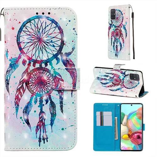 ColorDrops Wind Chimes 3D Painted Leather Wallet Case for Samsung Galaxy A71 4G