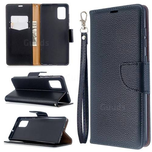 Classic Luxury Litchi Leather Phone Wallet Case for Samsung Galaxy A71 4G - Black