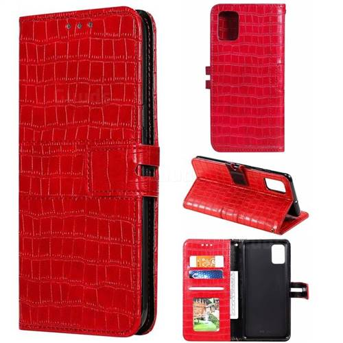 Luxury Crocodile Magnetic Leather Wallet Phone Case for Samsung Galaxy A71 - Red