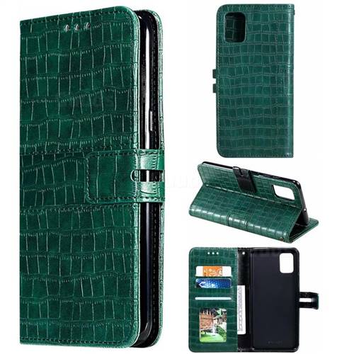 Luxury Crocodile Magnetic Leather Wallet Phone Case for Samsung Galaxy A71 - Green