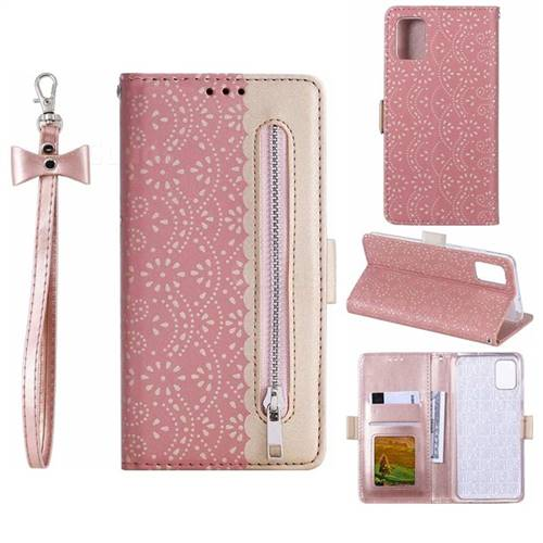 Luxury Lace Zipper Stitching Leather Phone Wallet Case for Samsung Galaxy A71 - Pink