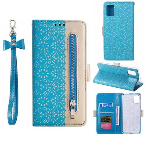 Luxury Lace Zipper Stitching Leather Phone Wallet Case for Samsung Galaxy A71 - Blue