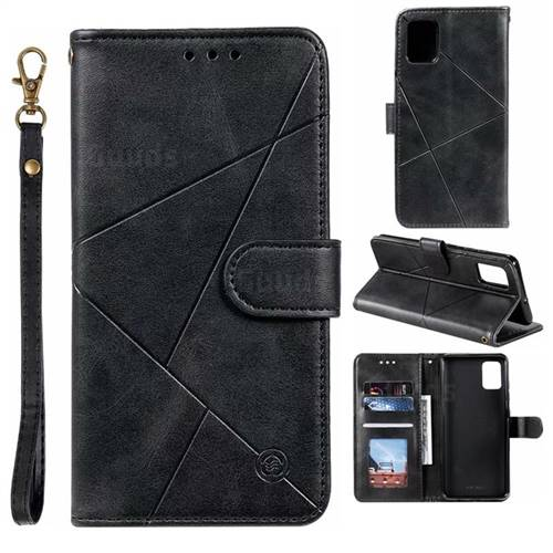 Embossing Geometric Leather Wallet Case for Samsung Galaxy A71 - Black
