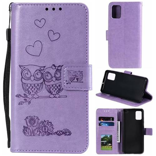 Embossing Owl Couple Flower Leather Wallet Case for Samsung Galaxy A71 - Purple
