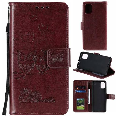 Embossing Owl Couple Flower Leather Wallet Case for Samsung Galaxy A71 - Brown