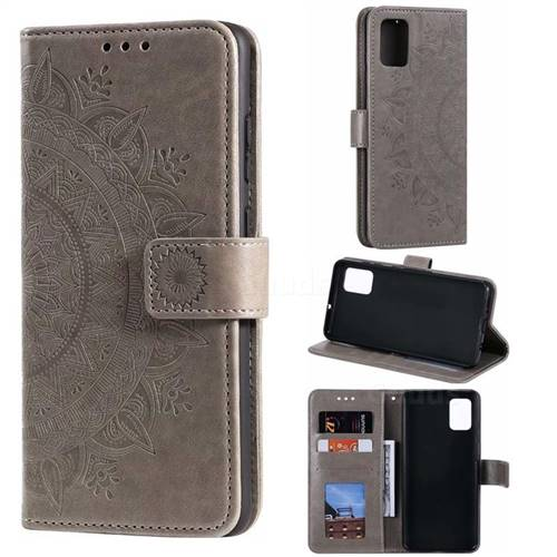 Intricate Embossing Datura Leather Wallet Case for Samsung Galaxy A71 - Gray