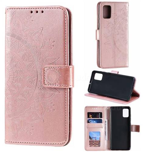 Intricate Embossing Datura Leather Wallet Case for Samsung Galaxy A71 - Rose Gold