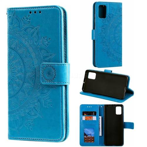 Intricate Embossing Datura Leather Wallet Case for Samsung Galaxy A71 - Blue
