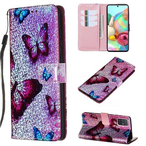 Blue Butterfly Sequins Painted Leather Wallet Case for Samsung Galaxy A71