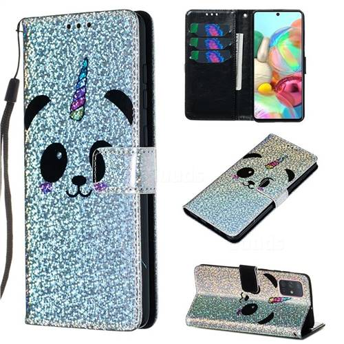Panda Unicorn Sequins Painted Leather Wallet Case for Samsung Galaxy A71 4G