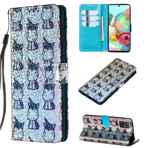 Little Unicorn Sequins Painted Leather Wallet Case for Samsung Galaxy A71
