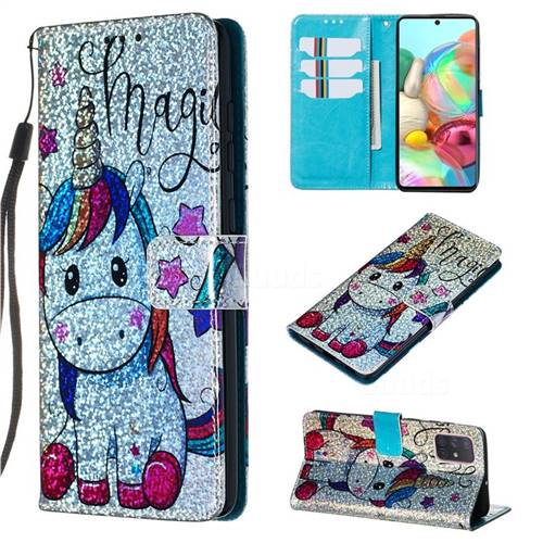 Star Unicorn Sequins Painted Leather Wallet Case for Samsung Galaxy A71