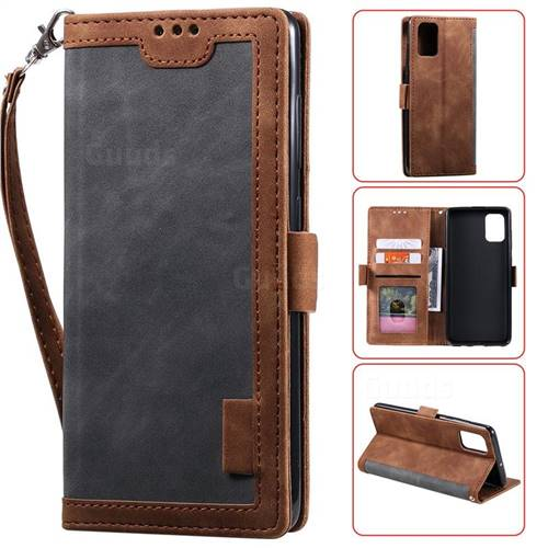 Luxury Retro Stitching Leather Wallet Phone Case for Samsung Galaxy A71 - Gray