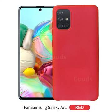 Howmak Slim Liquid Silicone Rubber Shockproof Phone Case Cover for Samsung Galaxy A71 - Red