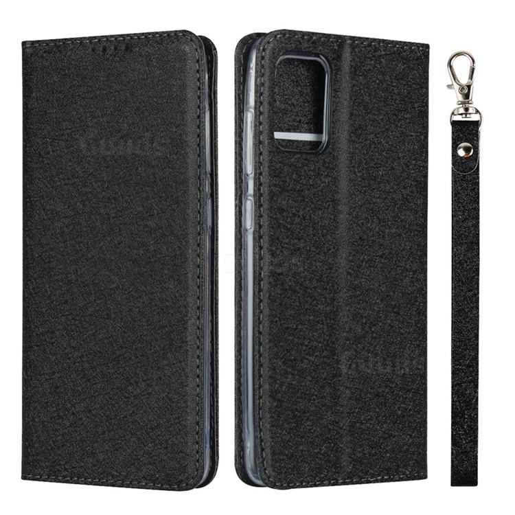 Ultra Slim Magnetic Automatic Suction Silk Lanyard Leather Flip Cover for Samsung Galaxy A71 4G - Black