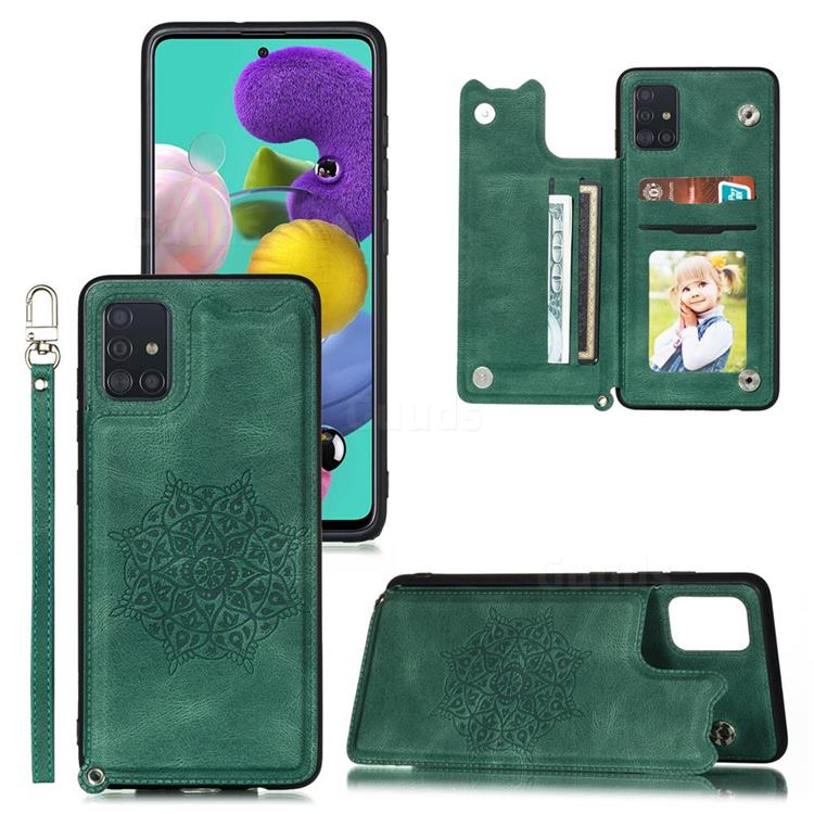 Luxury Mandala Multi-function Magnetic Card Slots Stand Leather Back Cover for Samsung Galaxy A71 4G - Green