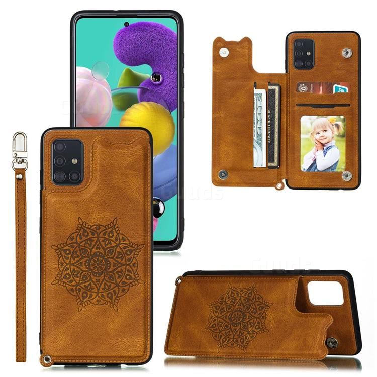 Luxury Mandala Multi-function Magnetic Card Slots Stand Leather Back Cover for Samsung Galaxy A71 4G - Brown