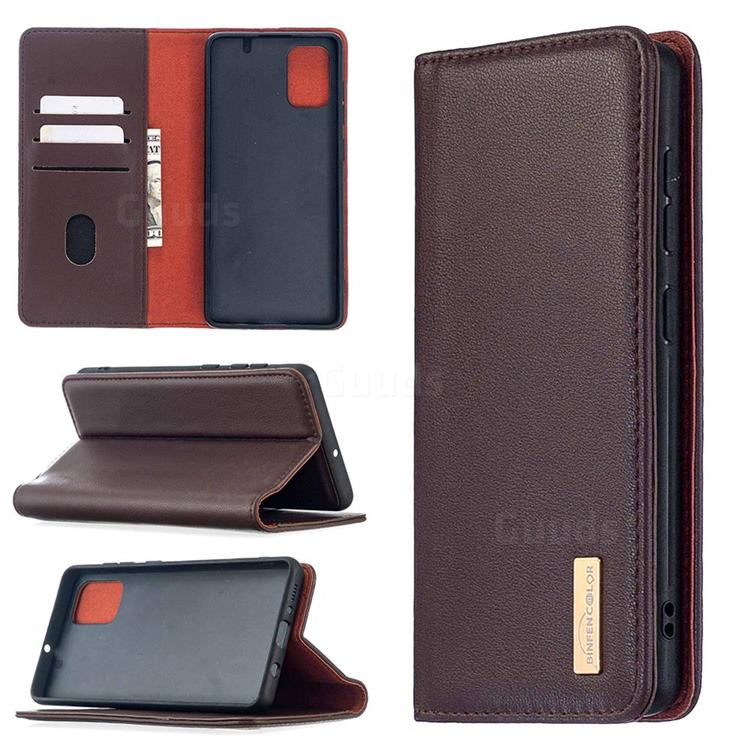 Binfen Color BF06 Luxury Classic Genuine Leather Detachable Magnet Holster Cover for Samsung Galaxy A71 4G - Dark Brown
