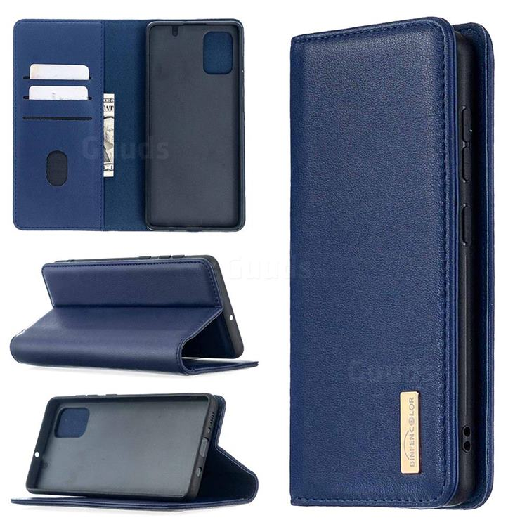 Binfen Color BF06 Luxury Classic Genuine Leather Detachable Magnet Holster Cover for Samsung Galaxy A71 - Blue