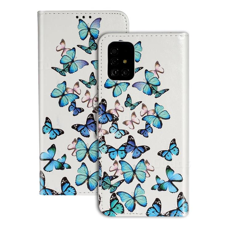Blue Vivid Butterflies PU Leather Wallet Case for Samsung Galaxy A71