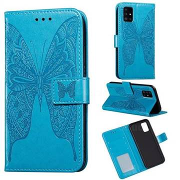 Intricate Embossing Vivid Butterfly Leather Wallet Case for Samsung Galaxy A71 - Blue