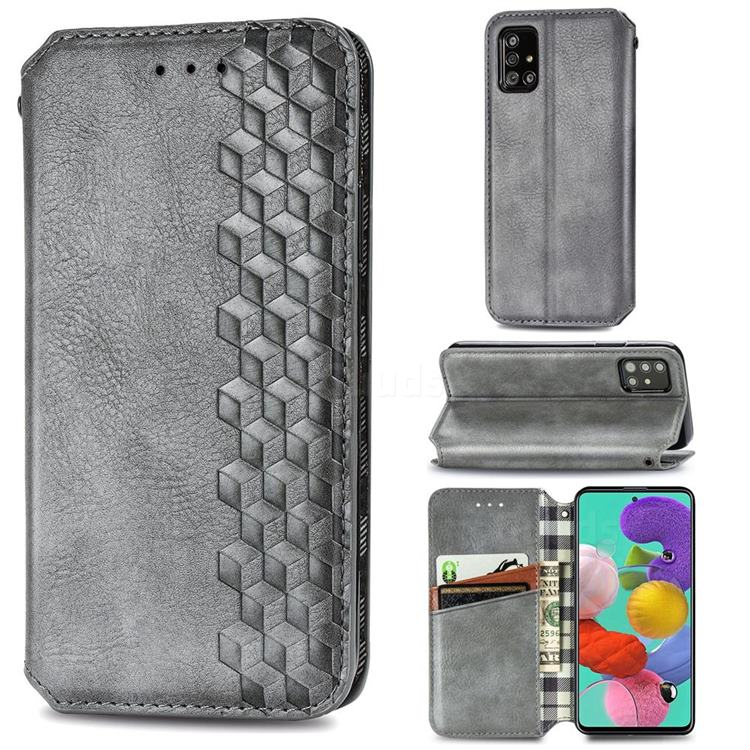 Ultra Slim Fashion Business Card Magnetic Automatic Suction Leather Flip Cover for Samsung Galaxy A71 - Grey