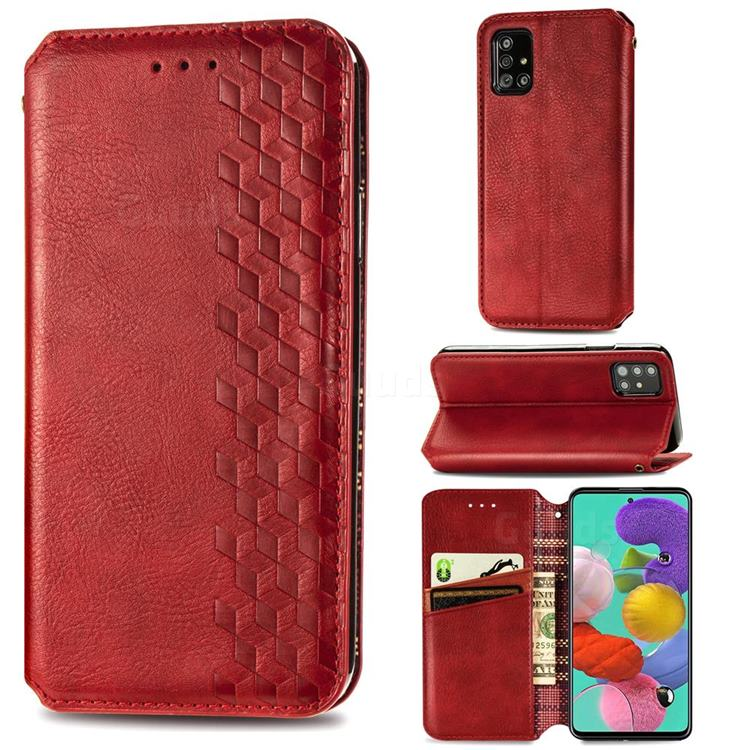 Ultra Slim Fashion Business Card Magnetic Automatic Suction Leather Flip Cover for Samsung Galaxy A71 4G - Red