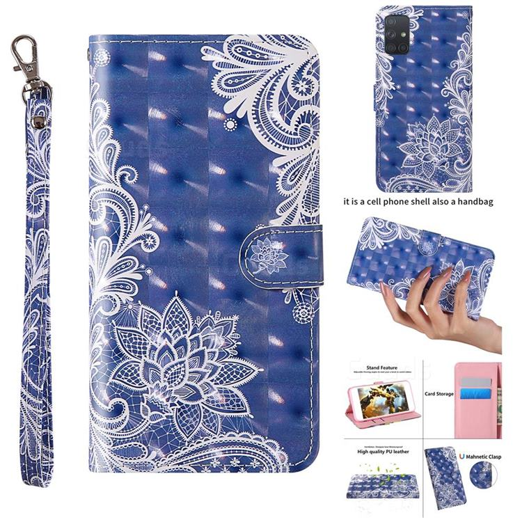 White Lace 3D Painted Leather Wallet Case for Samsung Galaxy A71 4G