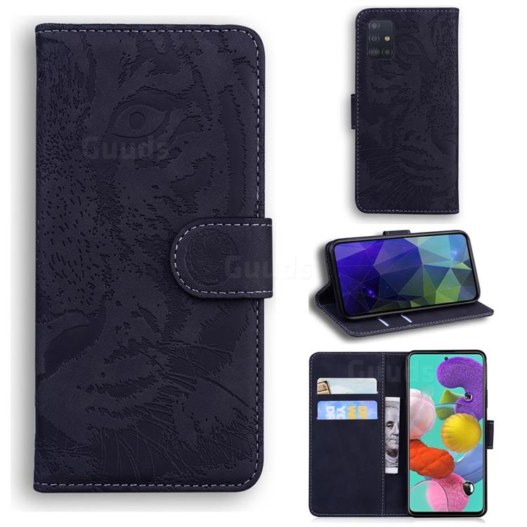 Intricate Embossing Tiger Face Leather Wallet Case for Samsung Galaxy A71 4G - Black