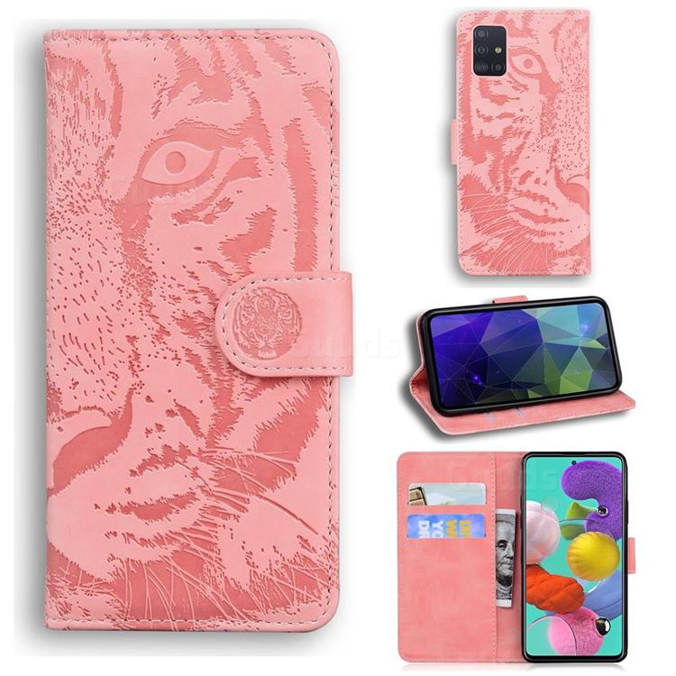 Intricate Embossing Tiger Face Leather Wallet Case for Samsung Galaxy A71 4G - Pink
