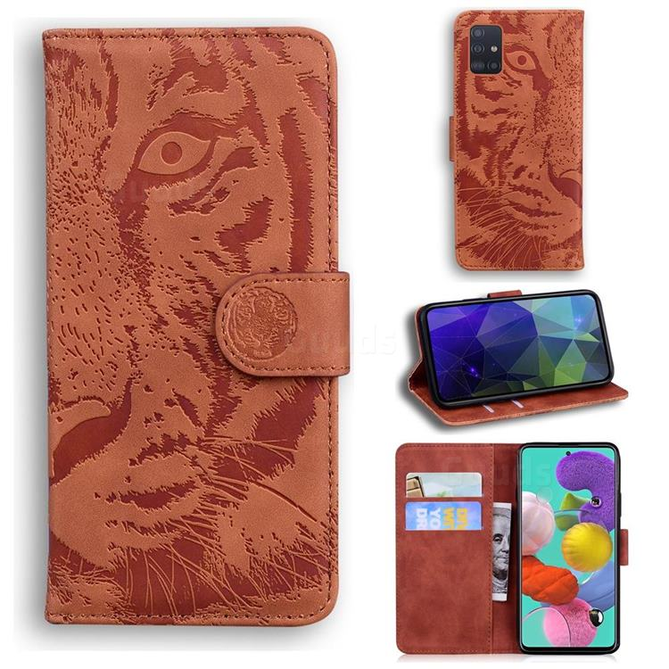 Intricate Embossing Tiger Face Leather Wallet Case for Samsung Galaxy A71 4G - Brown
