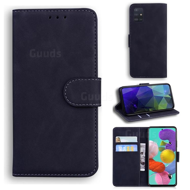 Retro Classic Skin Feel Leather Wallet Phone Case for Samsung Galaxy A71 4G - Black