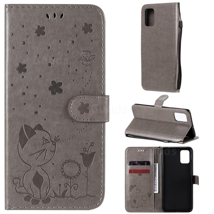 Embossing Bee and Cat Leather Wallet Case for Samsung Galaxy A71 4G - Gray