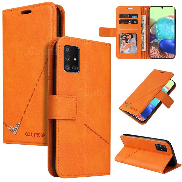 GQ.UTROBE Right Angle Silver Pendant Leather Wallet Phone Case for Samsung Galaxy A71 4G - Orange