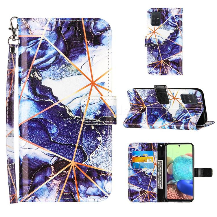 Starry Blue Stitching Color Marble Leather Wallet Case for Samsung Galaxy A71 4G