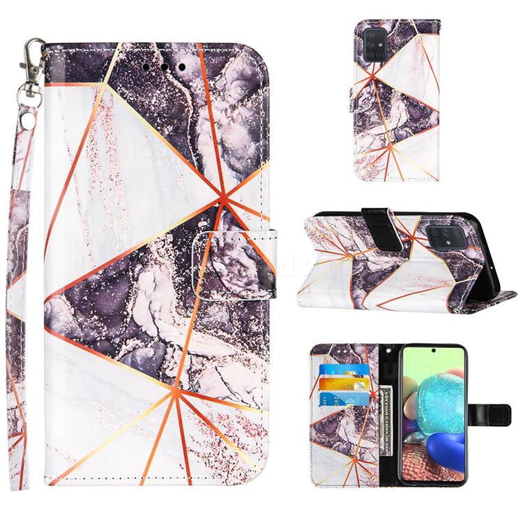 Black and White Stitching Color Marble Leather Wallet Case for Samsung Galaxy A71 4G