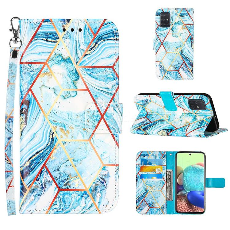 Lake Blue Stitching Color Marble Leather Wallet Case for Samsung Galaxy A71 4G