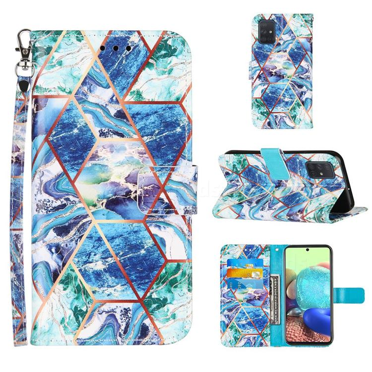 Green and Blue Stitching Color Marble Leather Wallet Case for Samsung Galaxy A71 4G