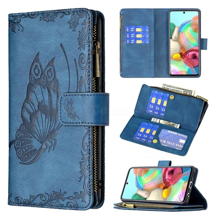 Binfen Color Imprint Vivid Butterfly Buckle Zipper Multi-function Leather Phone Wallet for Samsung Galaxy A71 4G - Blue