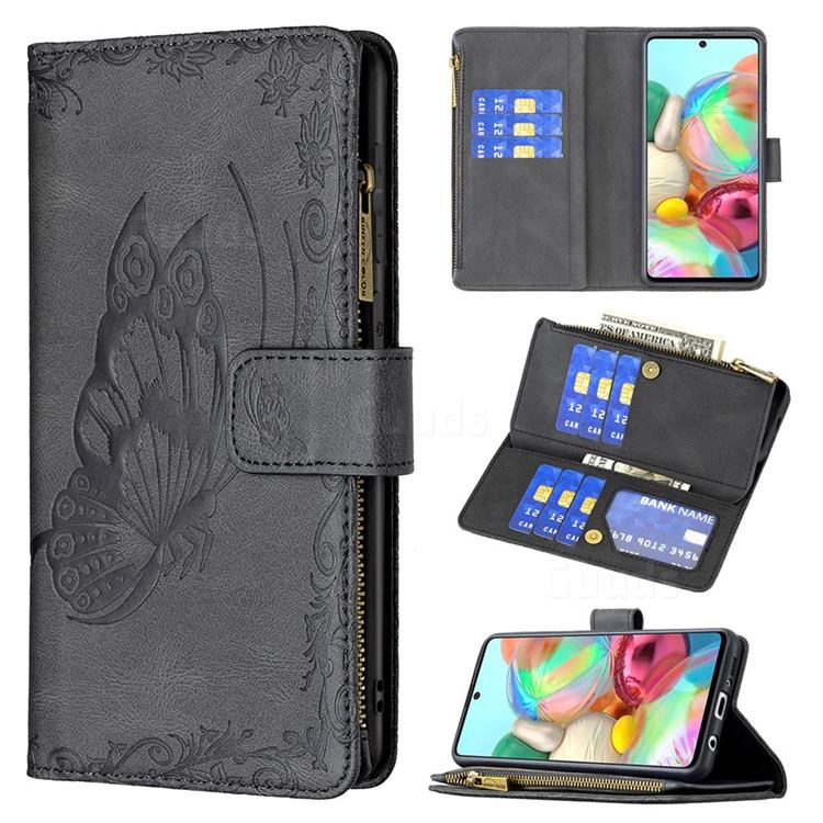 Binfen Color Imprint Vivid Butterfly Buckle Zipper Multi-function Leather Phone Wallet for Samsung Galaxy A71 4G - Black