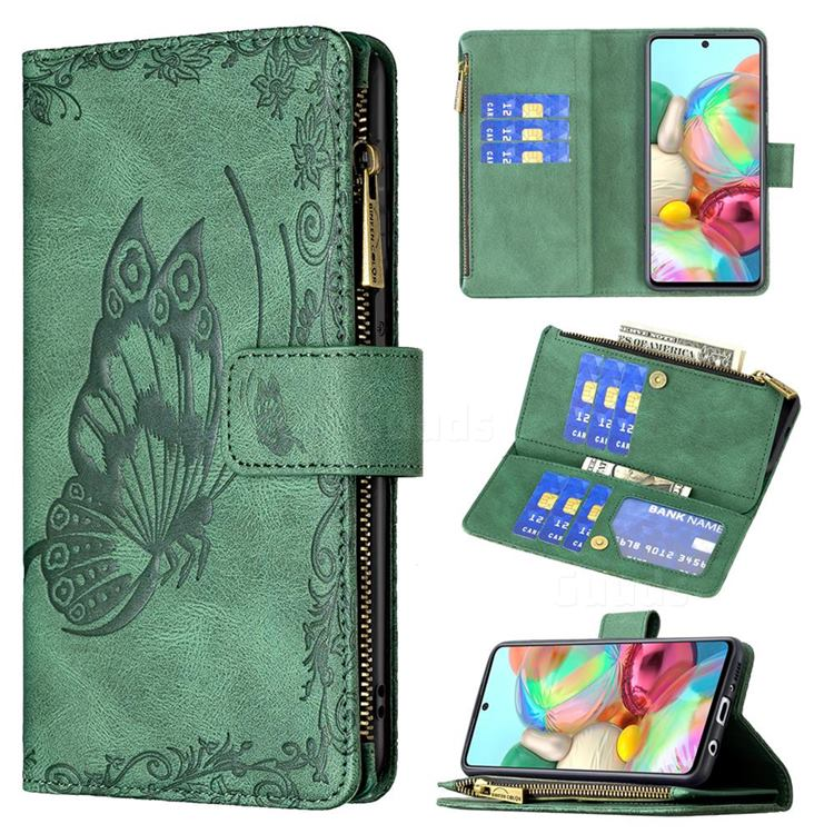 Binfen Color Imprint Vivid Butterfly Buckle Zipper Multi-function Leather Phone Wallet for Samsung Galaxy A71 4G - Green
