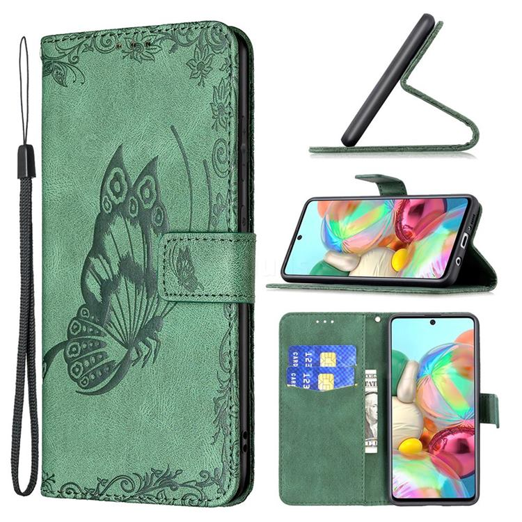 Binfen Color Imprint Vivid Butterfly Leather Wallet Case for Samsung Galaxy A71 4G - Green