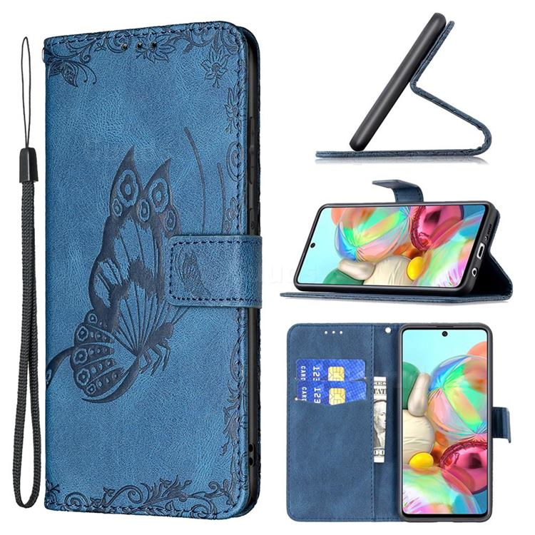 Binfen Color Imprint Vivid Butterfly Leather Wallet Case for Samsung Galaxy A71 4G - Blue