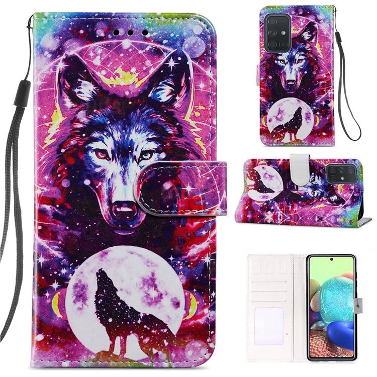 Wolf Totem Smooth Leather Phone Wallet Case for Samsung Galaxy A71 4G