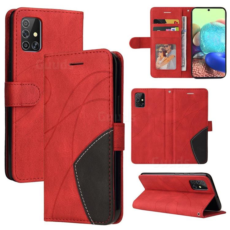 Luxury Two-color Stitching Leather Wallet Case Cover for Samsung Galaxy A71 4G - Red