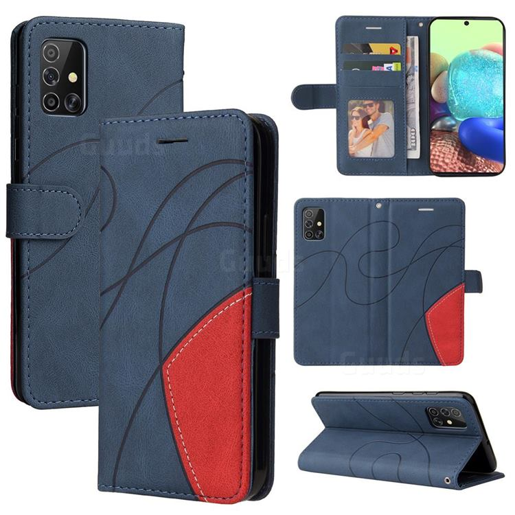 Luxury Two-color Stitching Leather Wallet Case Cover for Samsung Galaxy A71 4G - Blue