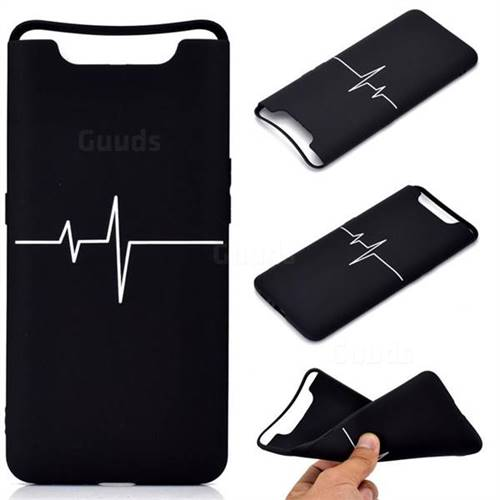 Electrocardiogram Chalk Drawing Matte Black TPU Phone Cover for Samsung Galaxy A80 A90
