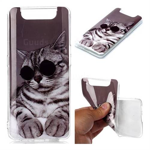 Kitten with Sunglasses Soft TPU Cell Phone Back Cover for Samsung Galaxy A80 A90